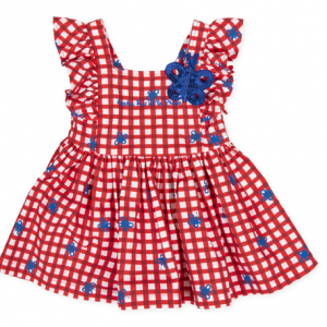 Agatha red gingham dress with butterflies