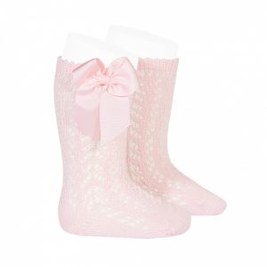 Perle openwork knee high socks with bow PINK