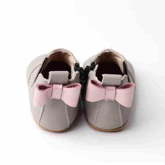 """""""Sophie"""" Chelsea Pink Bow Boots in Grey"""