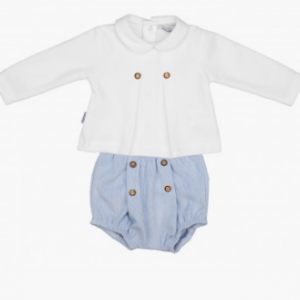 Babidu boys baby blue shorts and long sleeve ribbed ahirt