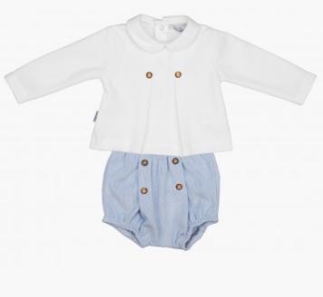 Babidu boys baby blue shorts and long sleeve ribbed ahirt