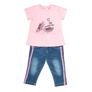 Be awesome girls pink t-shirt and soft denim jeans