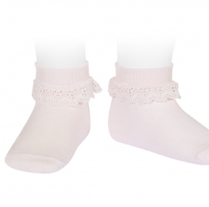 Condor Lace Trim Ankle Socks With Folded Cuff