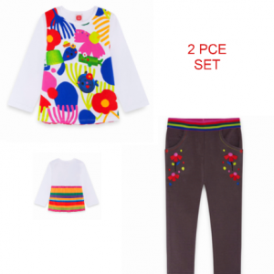 TUC TUC 2PCE SET LONG SLEEVE RAINBOW TOP AND SKINNY JEGGINGS
