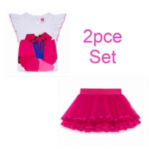 Tuc Tuc 2pce tulle ruffled skirt and pink top