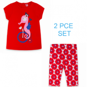 Tuc tuc 2pce red flower and sea horse set