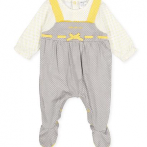 Tutto Piccolo grey and lemon baby girl babygrow