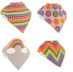 Ziggle 4pk Rainbow Colours Bandana Bibs