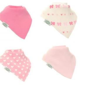 ziggle 4pk bandana pink bibs