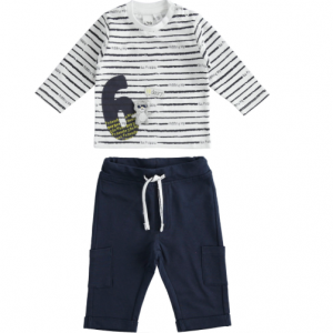 2pce trousers and t-shirt with number and teddy bear