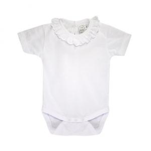 Babys short sleeve frilly collar bodysuit