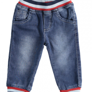 Knitted denim trousers with striped elastic