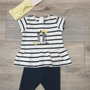 Weekend a la mer girls 2pce navy stripy top and leggings