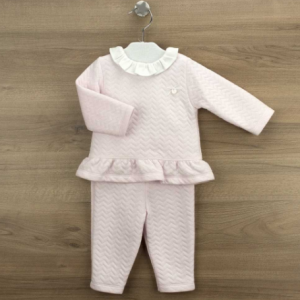 Babidu 2pce pink soft tracksuit with collar