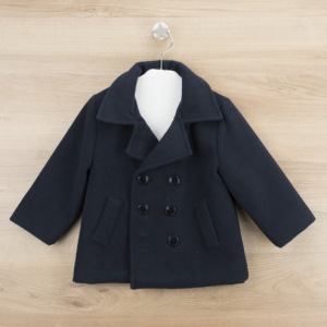 Babidu boys navy blue traditional double breasted coat