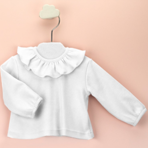 Babidu ruffled neck long sleeve top