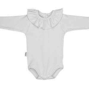 Babidu white long sleeve ruffled bodysuit