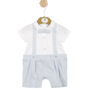 Boys Blue and White Romper With Bow Tie
