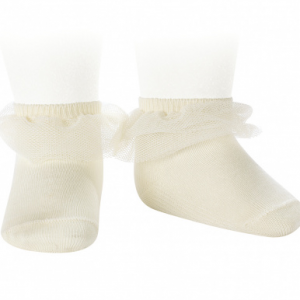 Condor Frill Tulle Ankle Sock Cream