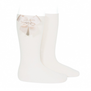 Condor Knee-High Socks With Grossgrain Side Bow Cream