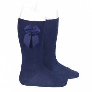 Condor Navy Grossgrain Side Bow Knee High Socks