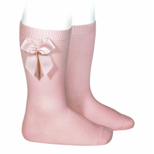 Condor Pale Pink Knee High Socks With Side Bow