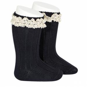 Condor Rib Knee High Socks With Vintage Navy Lace