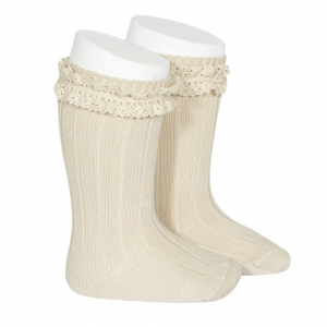 Condor Rib beige knee high socks with vintage lace linen
