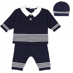 Emile et Rose navy 3pce knitted outfit