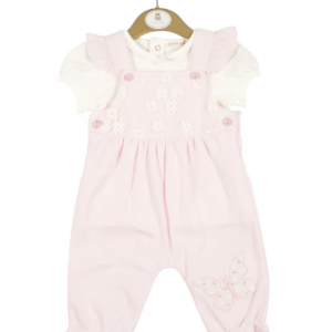 Girls Pink Floral Dungaree Set With White T-Shirt