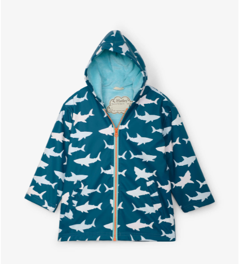 Hatley great white sharks colour changing jacket