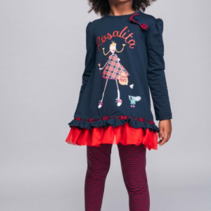 Rosalita set for girls navy and red jumper dress and leggings