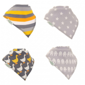 Ziggle 4pk Stylish Grey Bandana Bibs