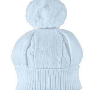 Emile et Rose Fuzzy Blue Baby Bobble Hat
