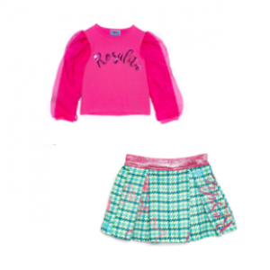 Rosalita 2pce green and pink skirt and pink tulle long sleeve top