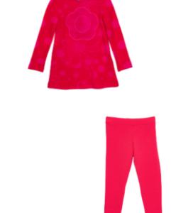 Rosalita pink jersey dress and pink striped leggings