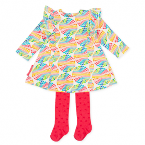 Agatha ruiz de la prada baby multicoloured dress anad pink tight with hearts