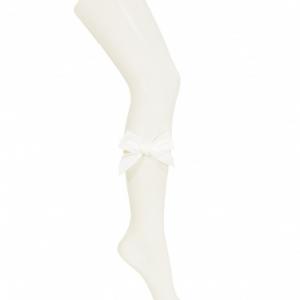 Condor side velvet bow cotton tights beige