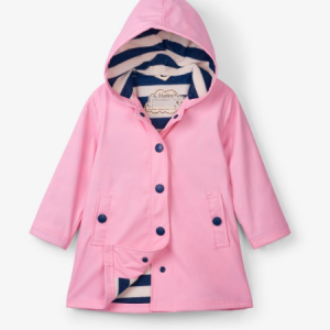 Hatley Pink splash Jacket with navy stripe lining
