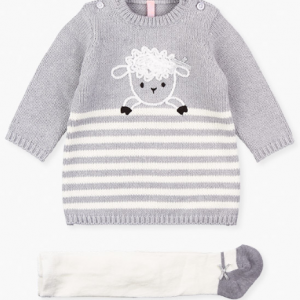 Losan baby girl grey knitted dresss