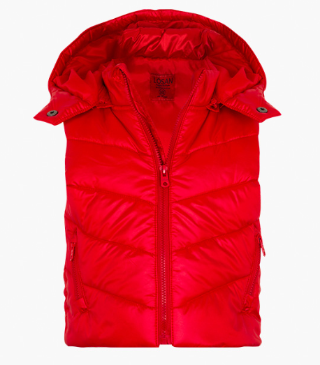 Losan red quilted body vest with detachable hood