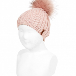 Mix Rib cotton hat with faux fur pompom old rose