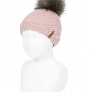 Rib beanie with faux fur pompom pale
