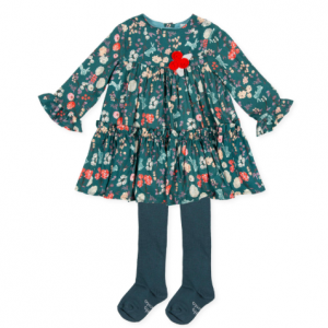 Tutto piccolo floral dress & matching tights