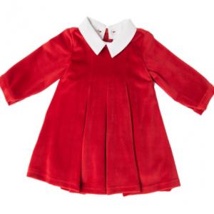Babybol red velvet dress with white detachable collar