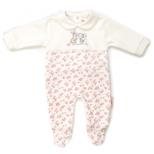 Babybol velour floral print all in one babygrow