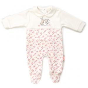 Babybol velour floral print all in one babygrow