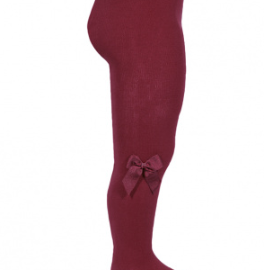 Condor cotton tights with side grossgran bow garnet