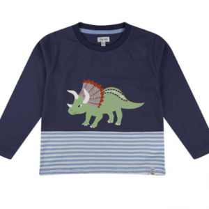 Lilly & Sid 100% cotton dino top with stripes