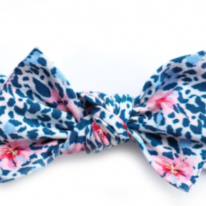 Little bow pip navy leopard floral pippa bow